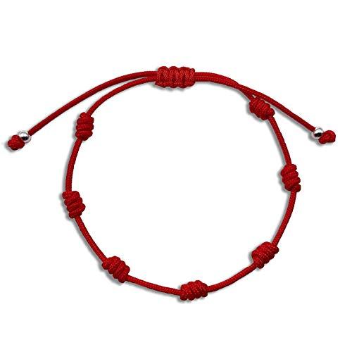 Alessandra Boho - Pulsera Chakras con 7 Nudos Realizada con Cordón Rojo de Nylon Europeo y Bolas de Plata, Amuleto de la Suerte contra el Mal de Ojo