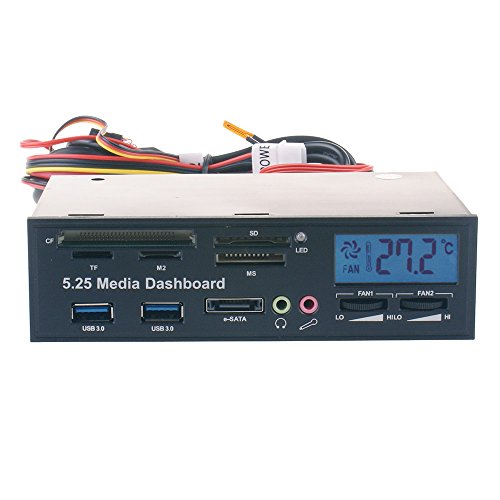 E 5.25 Zoll Multifunktions Media Computer Frontplatte, Zone LCD-Display und Lüftersteuerung, mit ESATA Port, Double USB 3.0 Hub, Mikrofon / Kopfhörer Audio Anschlüsse und Integrierter Kartenleser (CF / TF / M2 / SD / MS) (Dual-cf-card-reader)