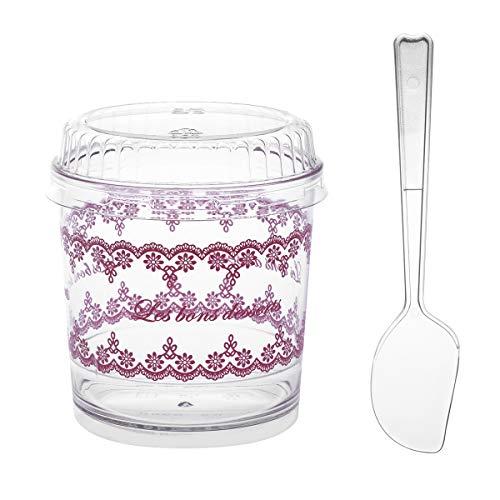 BESTONZON 20 Sätze Dessertbecher mit Deckel und Löffel Dessertschale Eisbecher Plastik Fingerfood Schalen Becher für Weihnachten Party 120 ML