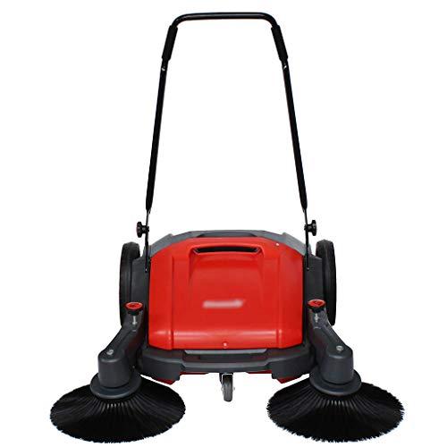 XLOO kehrmaschine, hartbodenreiniger, Verstellbarer, verschleißfester, doppelseitiger Besen, 40-l-Mülleimer mit großem Fassungsvermögen zur mühelosen Reinigung Ihrer Außenbereiche