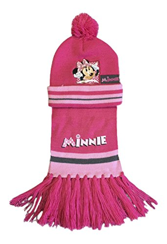 Girls/boys disney set sciarpa e cappello con logo ricamato minnie mouse cerise mm4 taglia unica