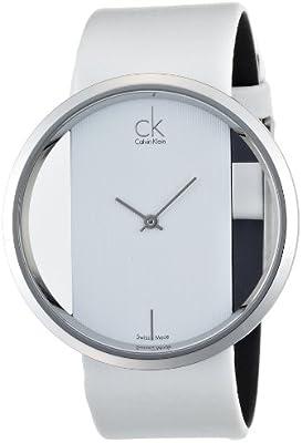 Calvin Klein Glam K9423101 - Reloj de mujer de cuarzo, correa de piel color blanco
