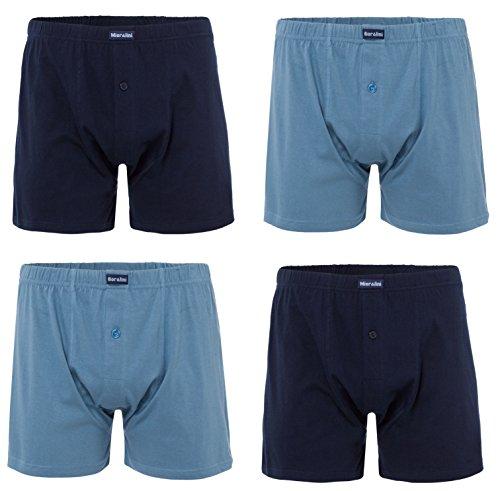 MioRalini 4 Herren Boxershort mit extra weitem Bein!! 100% Baumwolle normale Grössen und Übergrosse Männer Boxershorts Boxer Dunkelblau-Stahlblau