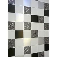 Debona Dotty Wallpaper Kitchen Bathroom Black Silver Tile Effect Washable