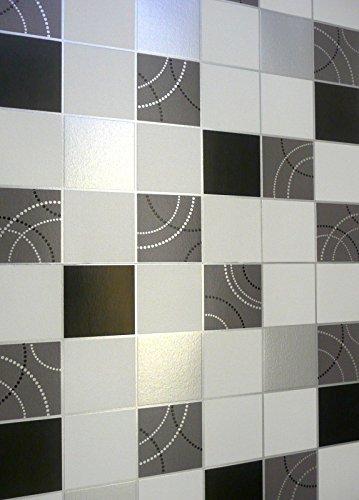 *DEBONA Schrullige Tapete für Küche und Badezimmer, Schwarz-silbriger Flieseneffekt, Waschbar*