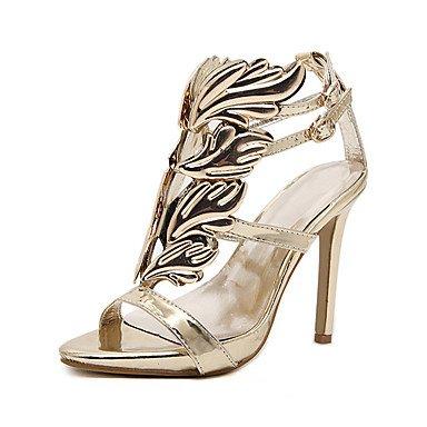 Sommer Schuhe Damen Sandalen Hochzeit Outddor Büro Kleid Lässig Sportlich Party & Festivität-Kunstleder-Stöckelabsatz-Komfort Neuheit Gladiator Gold