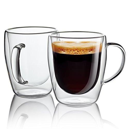 Taza de café de vidrio - tazas de vidrio de pared doble de 300 ml tazas de café espresso. Lavavajillas. Microondas, congelador SIN RIESGO - Juego de regalo de 2 manos sopladas - Jecobi