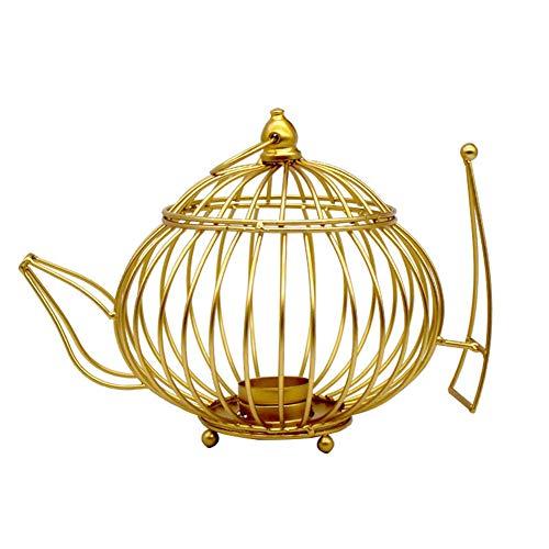 Cupcinu Metall Candle Stick Kerzenhalter Goldene Kerzenhalter für Herzstück Tabelle Dekorative Home Hochzeit Party Decor Teekanne Form Kerzenhalter Size 18.5 * 12 * 13cm (Gold-S)