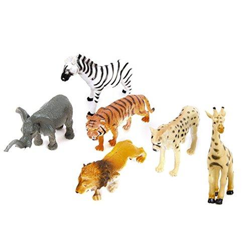 6 Stück Kunststoff Wild Tiere Spielzeug Modell - 2