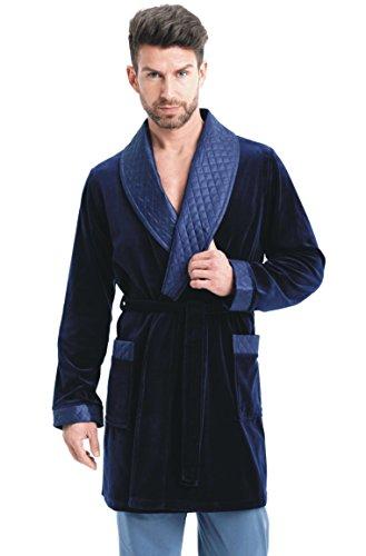 LEVERIE eleganter Herren-Kurzmantel Smoking Baumwoll-Bademantel mit Bindegürtel und Taschen - Made in EU, dunkelblau, Gr. L