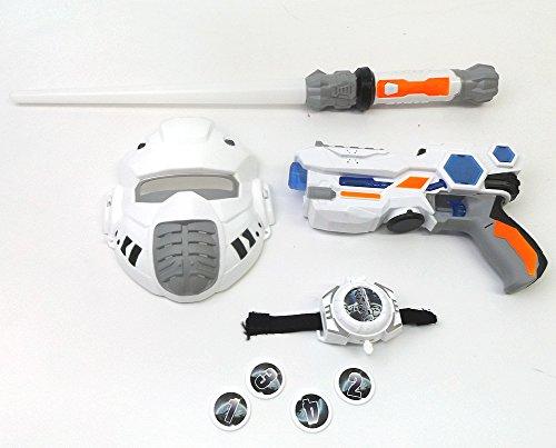 Brigamo 38923 - Sternenkrieger Set bestehend aus Space Blaster, Laserschwert mit Licht & Sound & Disc Blaster fürs Handgelenk thumbnail