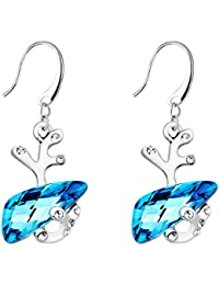 Valentine Day Gift For Girlfriend Wife Girls Reindeer Animal Fashion Crystals From Swarovski Rhodium Plated Danglers Earrings Jewellery for Women And Girls (Blue & Silver)