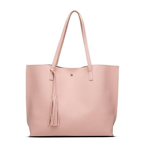 Handtaschen Famen Groß Leder Elegant rosa