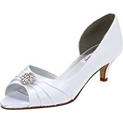 Dyeables Women s Kim Peep-Toe Pump White Satin 5 B(M) US
