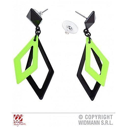 Freche grün - schwarze Ohrringe passend zu Kostümen der 80er oder (Kostüm 80er Jahre Metall)