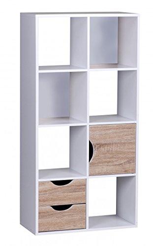 FineBuy Bücherregal 60 x 120 x 29 cm Weiß Sonoma Eiche mit Schubladen und Tür (Bücherregal Schublade)