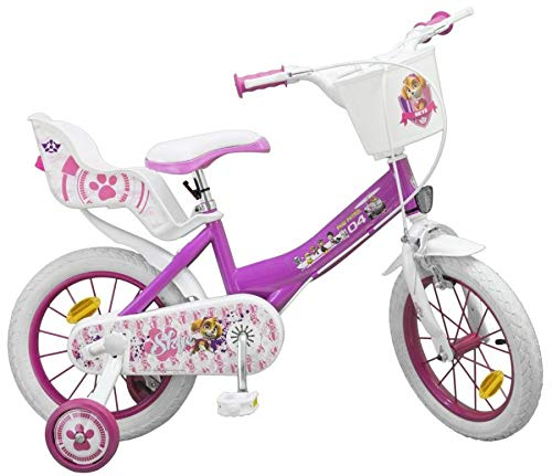 Unbekannt 14 Zoll Disney Kinder Mädchen Fahrrad Kinderfahrrad Mädchenfahrrad Rad Bike Paw Patrol PINK (Kinder Fahrrad Korb Vorn)