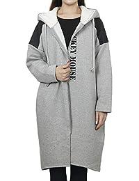 ililily Diesney Mickey Printed Long Hoodied Jackets Fleece Lining Zip Up Coat