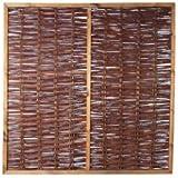 Weiden-Zaun/Sichtschutz Weide im Maß 180 x 180 cm (Breite x Höhe) als Flechtzaun/Flechtzäune mit umlaufenden Rahmen aus braun gebeizten Holz