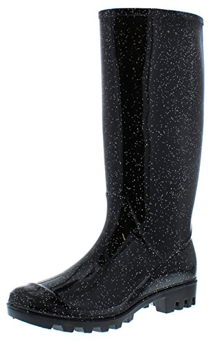womens-ladies-black-long-leg-pvc-wellingtons-with-a-glitter-finish-black-glitter-uk-size-5