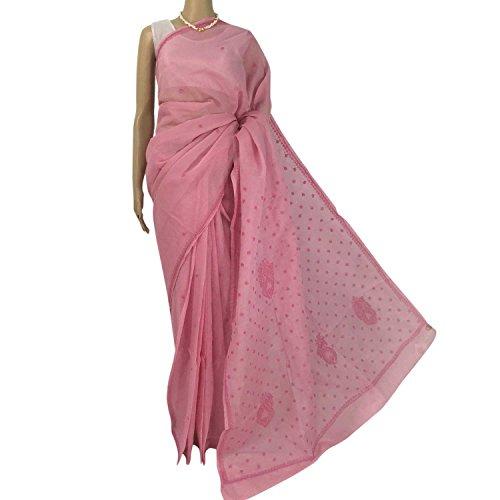 R'ZU Women's Onion Pink with White Cotton Lucknowi Chikankari Sari