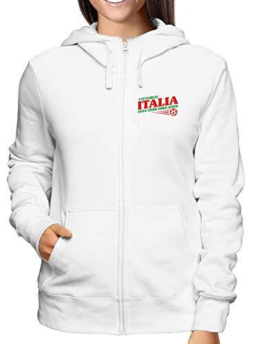 T-Shirtshock Sweatshirt Damen Hoodie Zip Weiss OLDENG00145 Italy World Champs Champ Zip Hoodie
