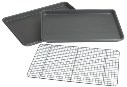 Chicago Metallic Professional 3-Piece Value Pack with 2 Cookie/Jelly Roll Pans and Cooling Grid by CHICAGO METALLIC - Chicago Metallic Jelly Roll Pan