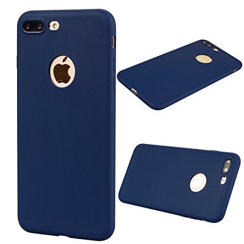 [2 Pieces] Cover iPhone 7 Plus (5.5),ToDo Custodia iPhone 7 Plus (5.5) Gel Silicone TPU Morbido Elegant Ultra Tinta Unita Sottile Opaco Flessibile Gomma Cassa Protettiva Antiurto AntiGraffio Antisci Blu