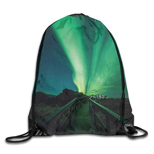 Drawstring Backpacks Bags,Wooden Bridge Solar Sky Scenic Radiant Rays Arctic Magic Scenery,5 Liter Capacity,Adjustable