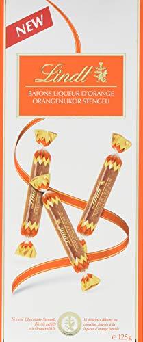 Lindt Batons Orange, Orangenstengeli, zarte Chocolade-Stengeli, flüssig gefüllt mit Orangenlikör, 2er Pack (2 x 125 g)