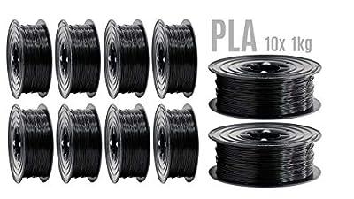PLA Filament 3D Drucker 1,75mm / 10x 1kg Rolle Schwarz für 3D Printer oder Stift 10er Set (10Kg)