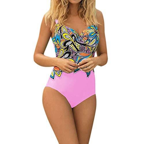 INLLADDY Tankini Damen Retro Bikini Ausgefallene Bikinis Badeanzug Sets Bademode Schwimmanzug Schlankheits figurformend Strandmod Rosa L