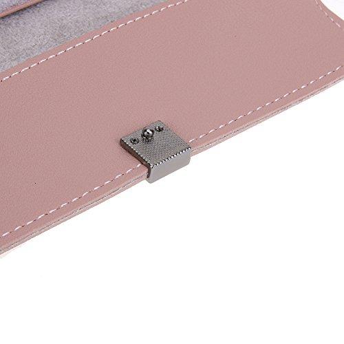 Amazingdeal365 Nuove Donne Pu Pelle Bottone Titolare Carta Lunga Borsa Frizione (Rosa) Rosa