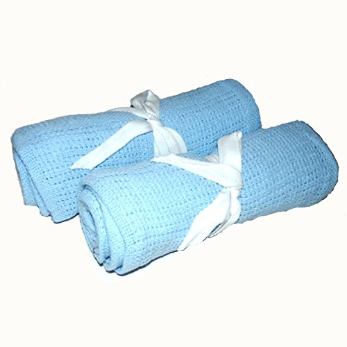 Pair of 100% Cotton Blue Cellular Baby Blankets 70 x 90 cm