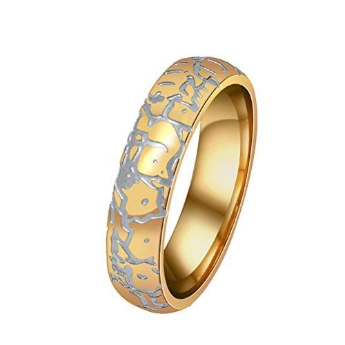 Billig Männlich Versprechen Ringe (HIJONES Herren Edelstahl Einzigartige Risse Gestreiften Kuppel Gold Ring Größe 62)