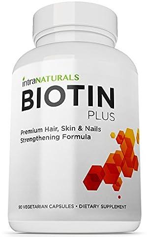 BIOTIN PLUS 5000 mcg | 90 Maximum Strength Vegan Capsules | Skin, Nails and Hair Growth Vitamins with B-Complex & Vitamin C | High Potency B7 Supplements for Men & Women | Natural Supplement Pills