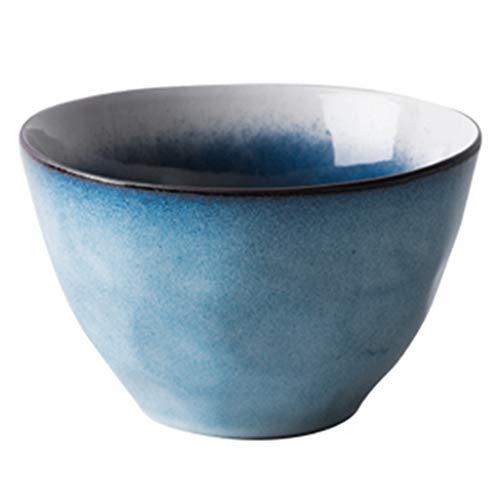 Cuenco de cerámica estilo japonés para arroz nórdico, cuenco para fideos, postre y sopa, horno microondas 15 * 9.4 * 7CM azul