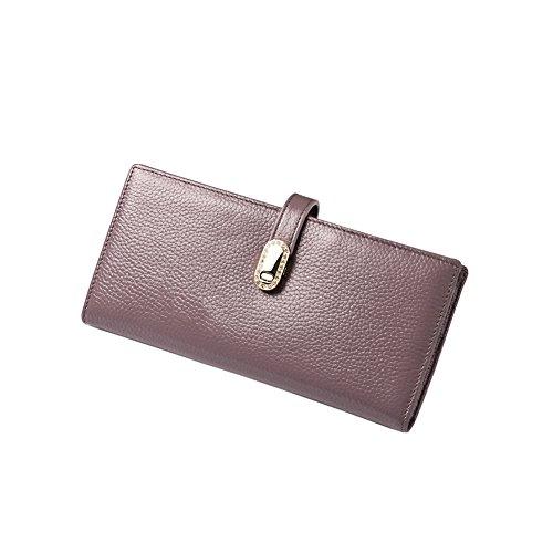 Yvonnelee Delle donne del cuoio genuino portafogli borsa esclusiva Long Bifold cassa Viola