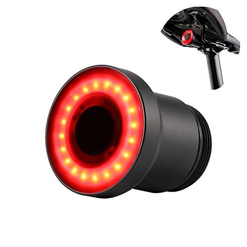 SmartHitech Smart Fahrrad Rücklicht mit Sattelhalterungbefestigung, COB LED Automatik Sensor Fahrradlicht IPX6 wasserdichte Warn-Sicherheitslampe, 200m Sichtbar, 1er Pack