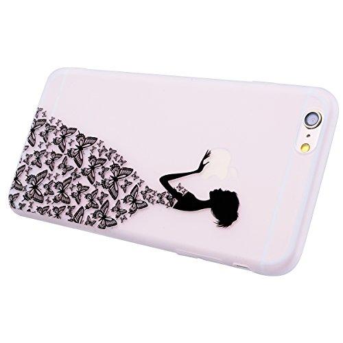 Yokata iPhone 6 / iPhone 6s Hülle Weiche Silikon Handyhülle Schutzhülle TPU Handy Tasche Schale Etui Weich Silicone Transparent Bumper Ultra Dünn Slim Schlank Matt Durchsichtig Handytasche Premium Kra Schmetterlinge und Mädchen