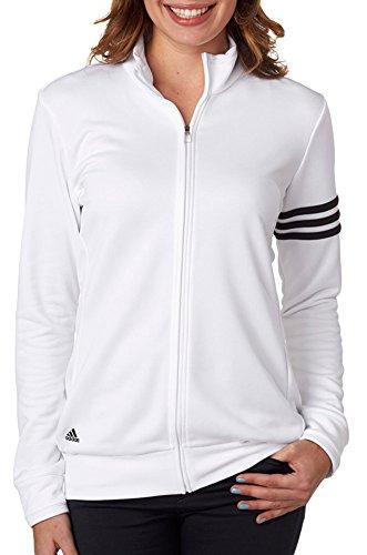 adidas Damen-3-Streifen Full Zip Pullover Jacke, Damen, weiß/schwarz Full Zip Nylon Windbreaker