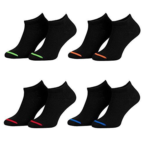 Piarini 35-38 8 Paar Sneaker Socken Sportsocken Baumwolle I Ohne Naht I Kurze Damen schwarz 36 37