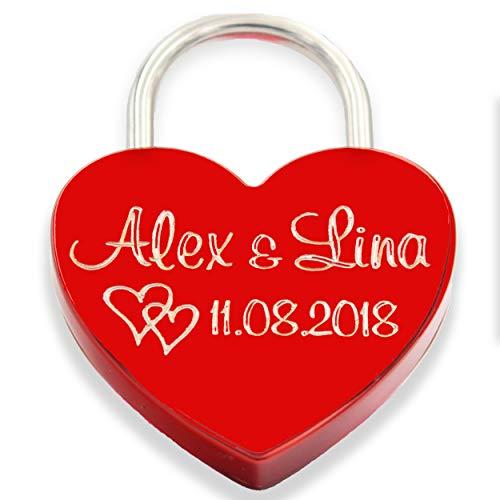 Liebesschloss Herzschloss persönliche Gravur Geschenk Jahrestag Valentistag rot