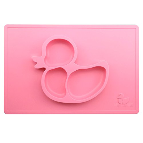 Silivo Kids Placemat,Silivo 15``x10`` Children Feeding Mat, Silicone Suction Pad Non-slip Baby Placemats Tableware(Pink)