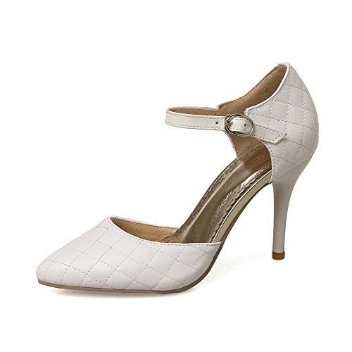 AgooLar Femme Couleur Unie Matière Mélangee Stylet Tire Pointu Chaussures Légeres Blanc