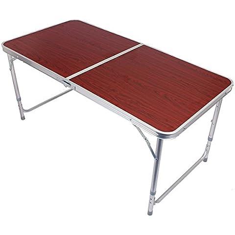 MaMaison007 Aluminio ajustable mesa exterior plegable de Camping Picnic Barbacoa fiesta - rojo