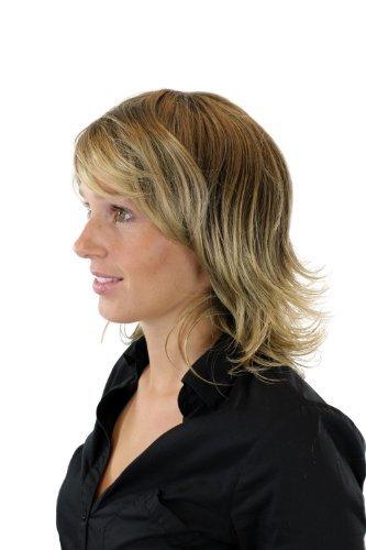 Preisvergleich Produktbild Damenperücke, modische Strähnung Braun Blond (8T124) schulterlang gestufte, wie lebensecht schwingende Spitzen W60359-8T124