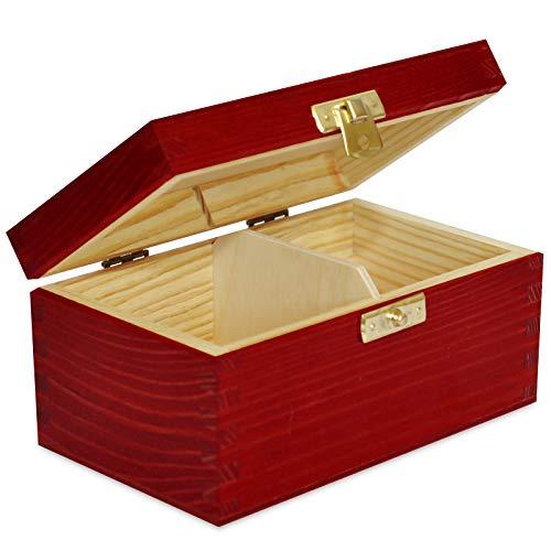 Creative Deco Teebox Rot Holz 2 Fächer mit Deckel | 15,2 x 10,5 x 7,7 cm | Tee Box Teekiste Holzkiste Natürliches Kiefernholz | Perfekt für Decoupage, Lagerung und Dekoration -