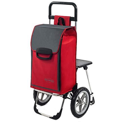 Mit Rädern Trolley Tasche (Einkaufstrolley Fajena mit Klappsitz & Kühlfach in rot mit 65L - Einkaufsroller Trolley bis 50kg belastbar mit großen, abnehmbaren flüster Rädern)