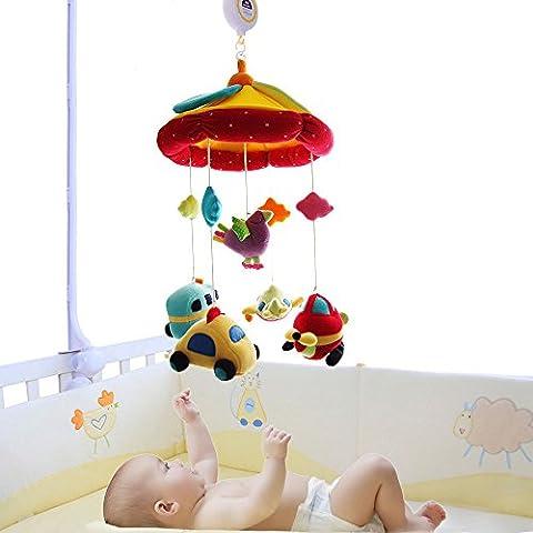 SHILOH Baby Crib Mobile Coslpper Stroller Toy with Musical Box & Holder, Car & Plane